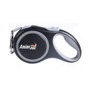 AnimALL рулетка-поводок до 15кг/3метра S Серый-черный